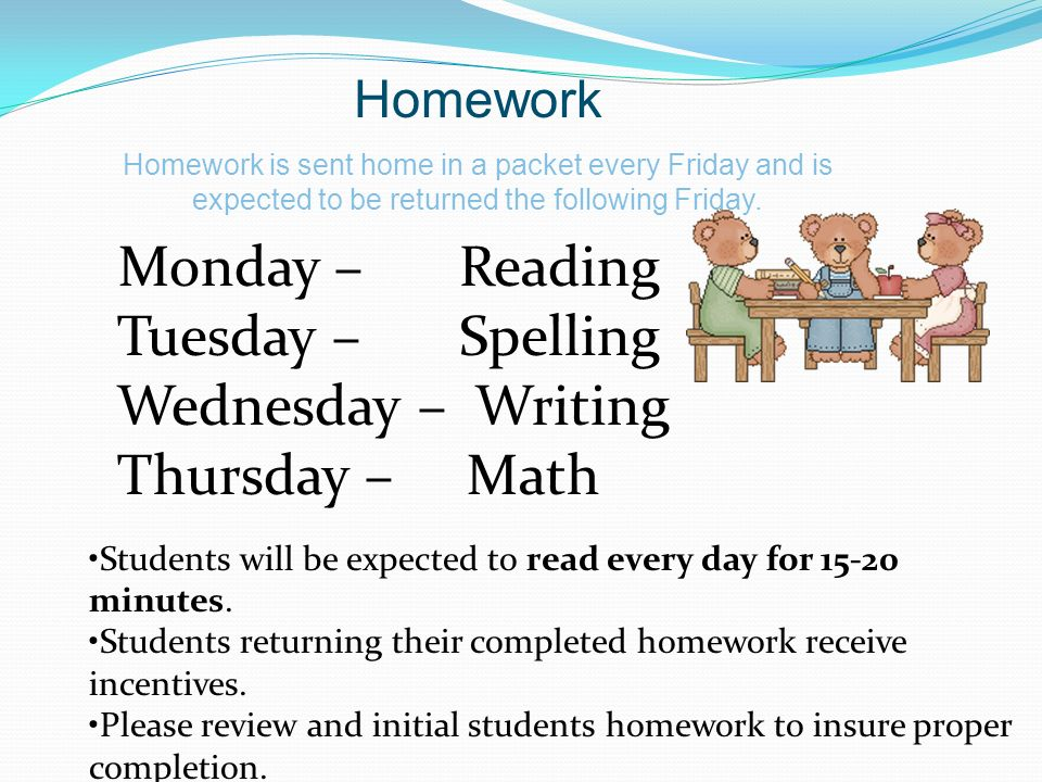 Monday – Reading Tuesday – Spelling Wednesday – Writing Thursday – Math Students will be expected to read every day for 15-20 minutes.