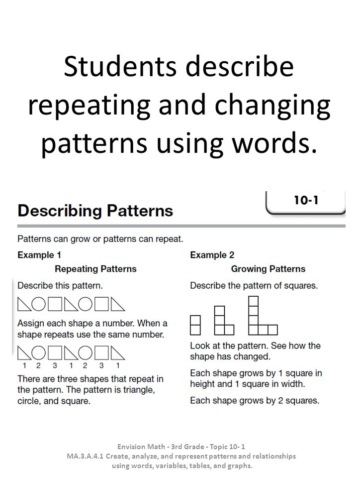 Students describe repeating and changing patterns using words. Envision Math - 3rd Grade - Topic 10- 1 MA.3.A.4.1 Create, analyze, and represent patte