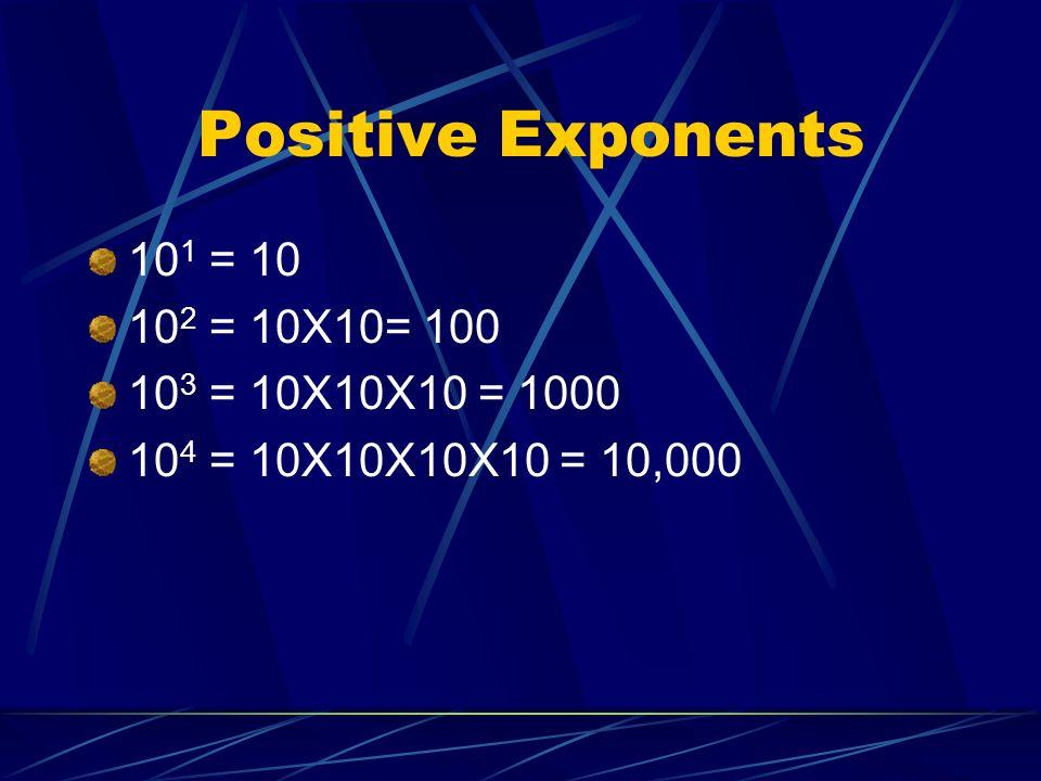 Positive Exponents 10 1 = 10 10 2 = 10X10= 100 10 3 = 10X10X10 = 1000 10 4 = 10X10X10X10 = 10,000