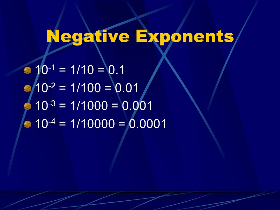 Negative Exponents 10 -1 = 1/10 = 0.1 10 -2 = 1/100 = 0.01 10 -3 = 1/1000 = 0.001 10 -4 = 1/10000 = 0.0001