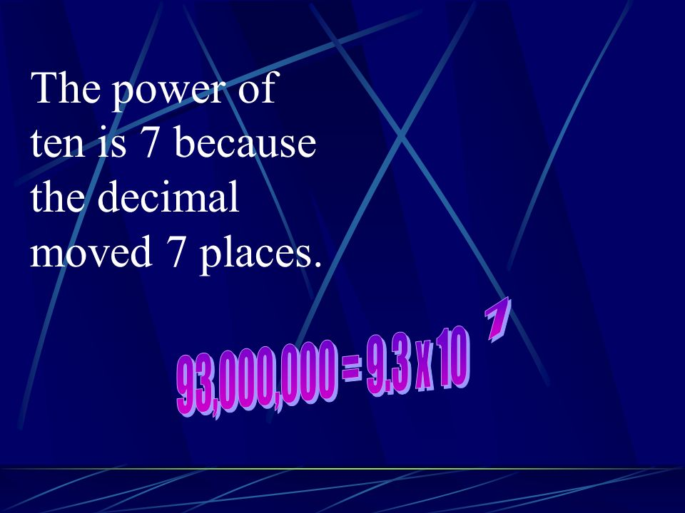 The power of ten is 7 because the decimal moved 7 places.