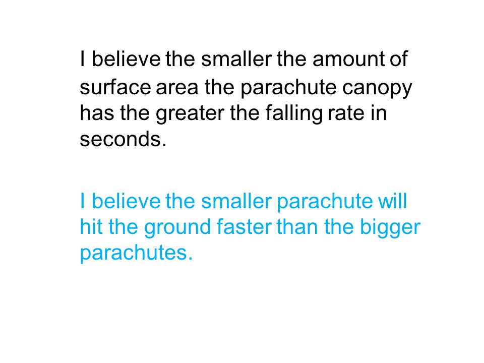 I believe the smaller the amount of surface area the parachute canopy has the greater the falling rate in seconds. I believe the smaller parachute wil