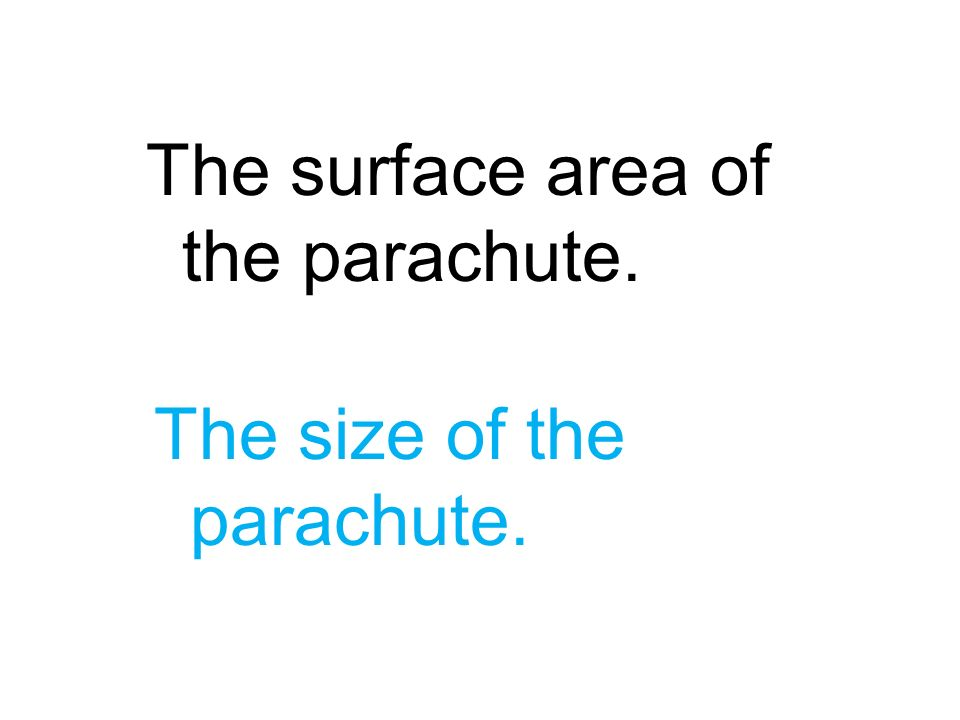 The surface area of the parachute. The size of the parachute.