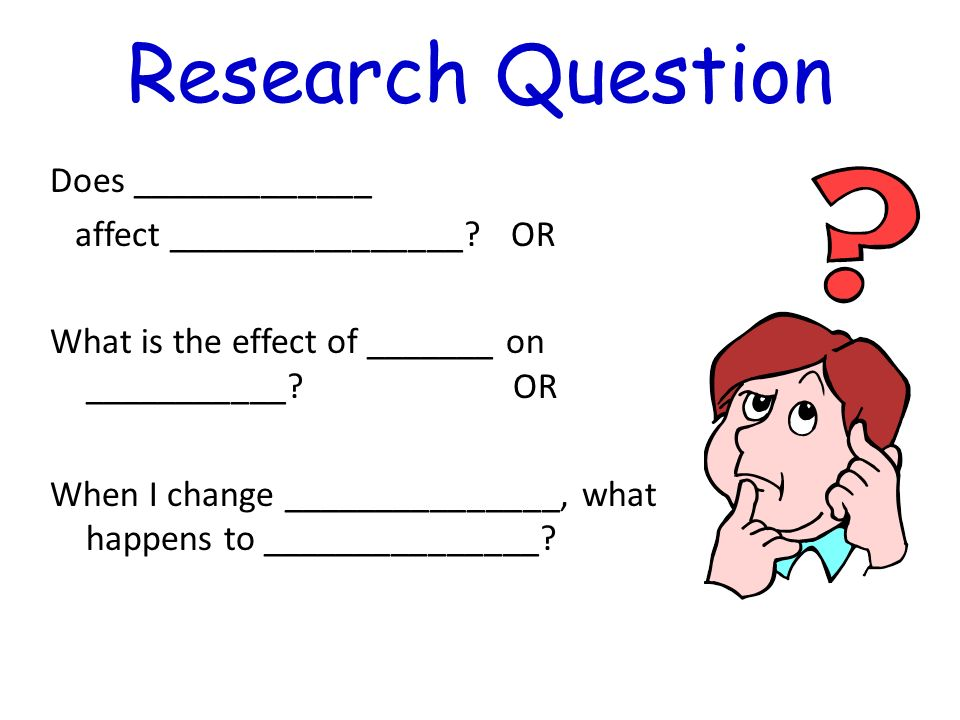 Research Question Does _____________ affect ________________? OR What is the effect of _______ on ___________? OR When I change _______________, what