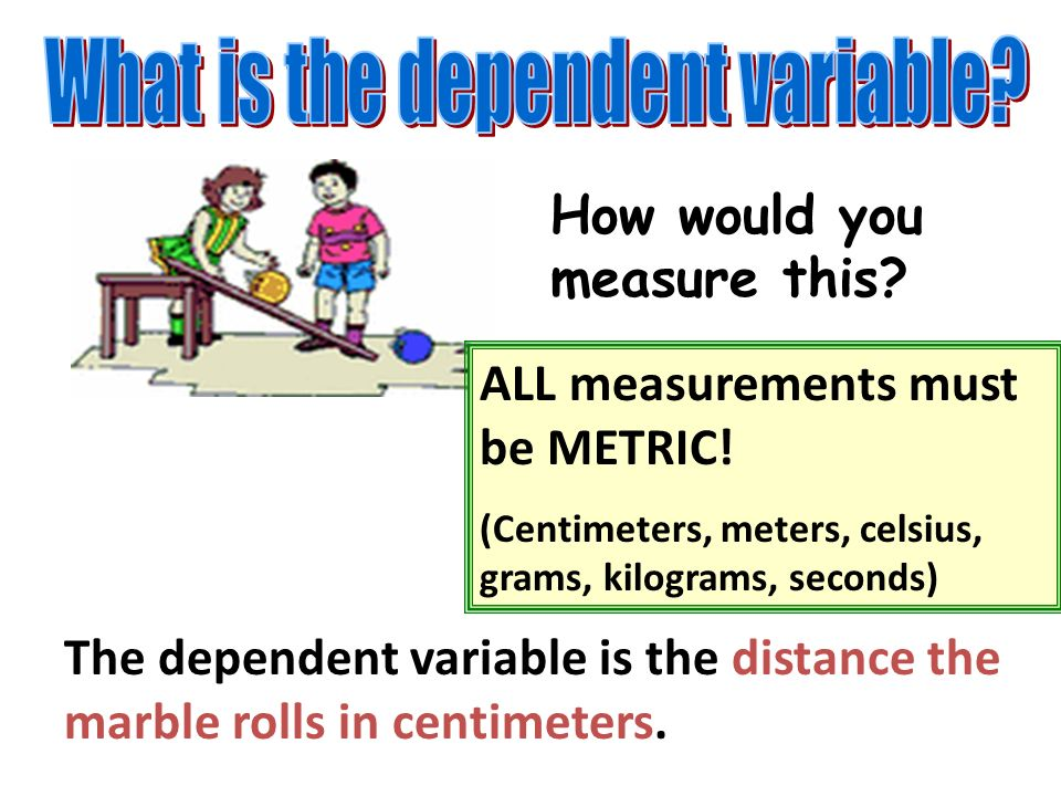 How would you measure this.The dependent variable is the distance the marble rolls in centimeters.