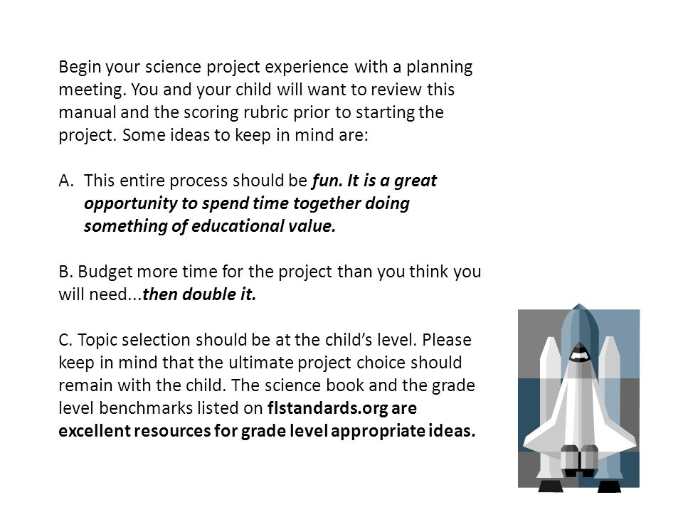 Begin your science project experience with a planning meeting.