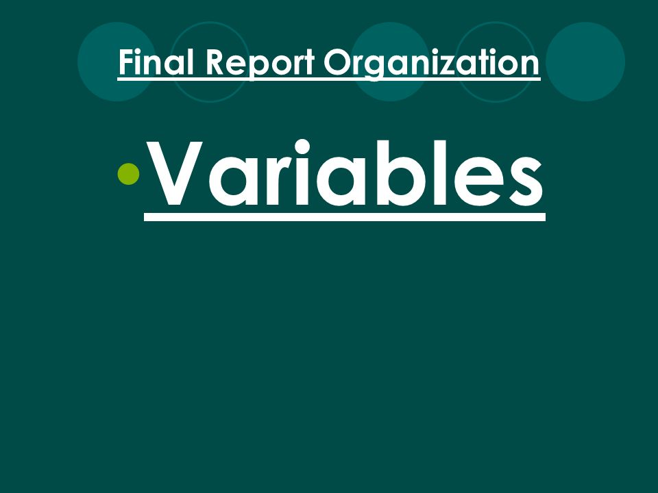 Variables Final Report Organization