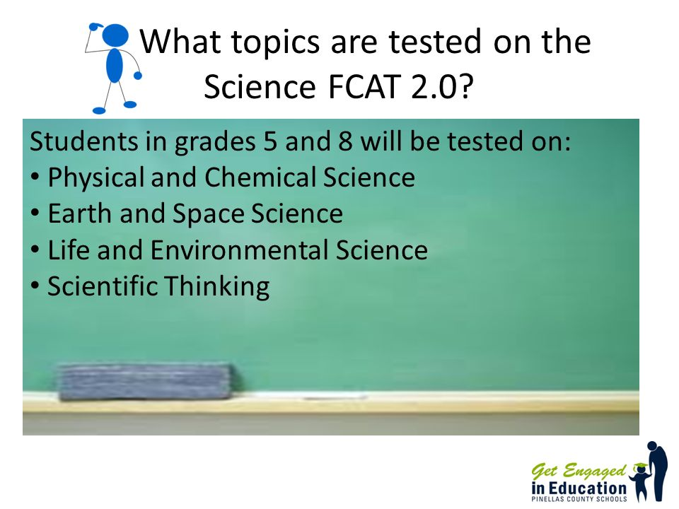 What topics are tested on the Science FCAT 2.0.