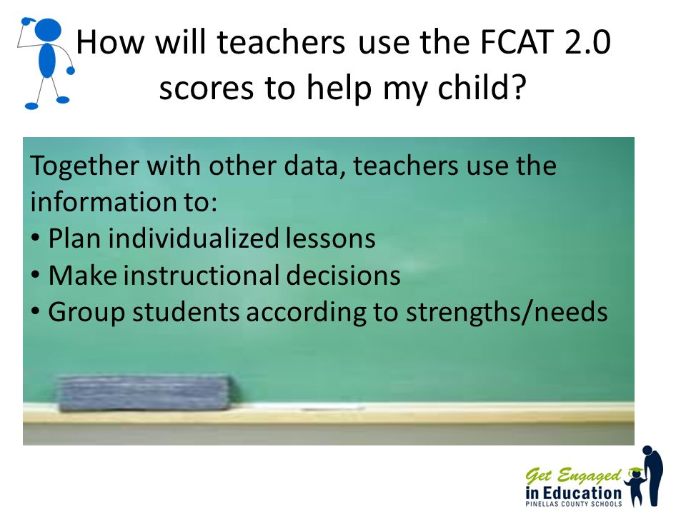 How will teachers use the FCAT 2.0 scores to help my child.