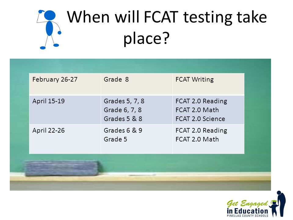 When will FCAT testing take place.