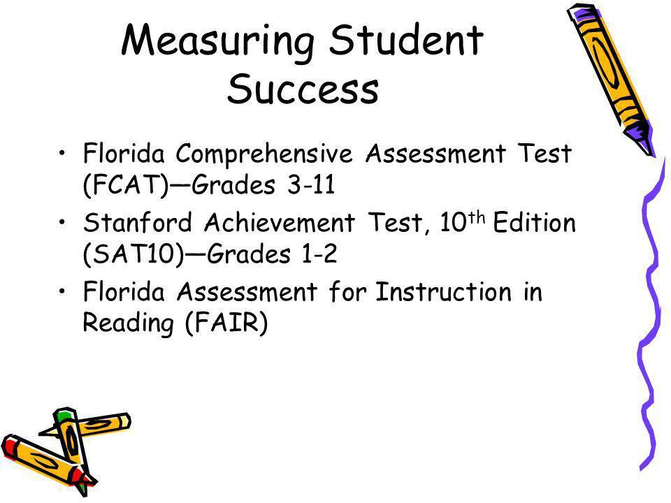 Measuring Student Success Florida Comprehensive Assessment Test (FCAT)Grades 3-11 Stanford Achievement Test, 10 th Edition (SAT10)Grades 1-2 Florida A