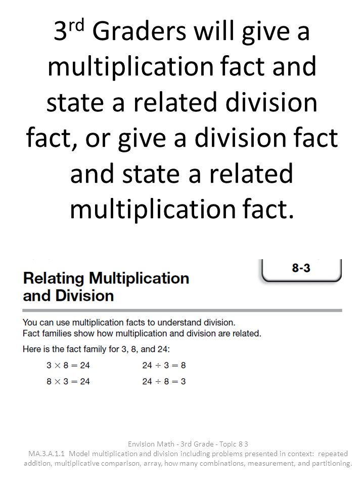 3 rd Graders will give a multiplication fact and state a related division fact, or give a division fact and state a related multiplication fact. Envis