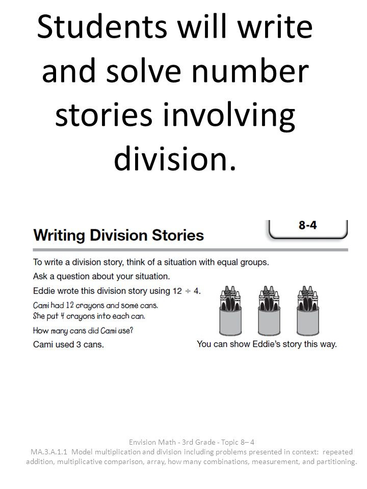 Students will write and solve number stories involving division. Envision Math - 3rd Grade - Topic 8– 4 MA.3.A.1.1 Model multiplication and division i