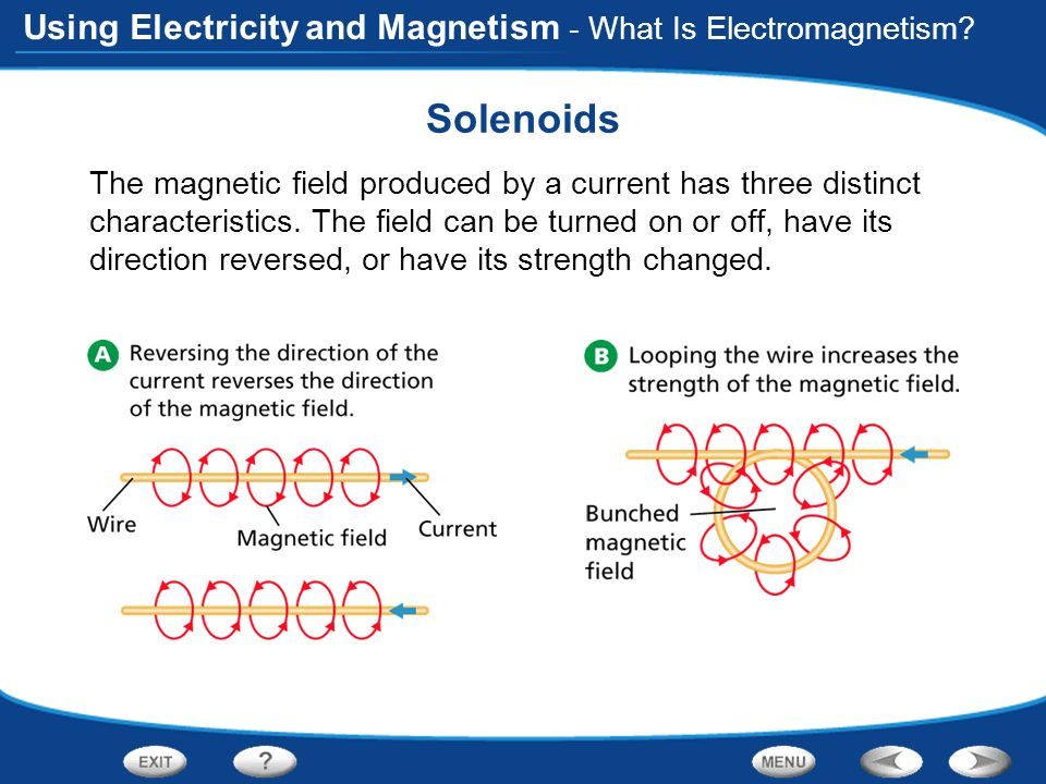 Using Electricity and Magnetism - What Is Electromagnetism? Solenoids The magnetic field produced by a current has three distinct characteristics. The