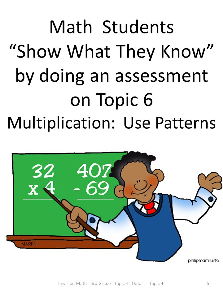 Math Students Show What They Know by doing an assessment on Topic 6 Multiplication: Use Patterns Envision Math - 3rd Grade - Topic 4 Data Topic 46
