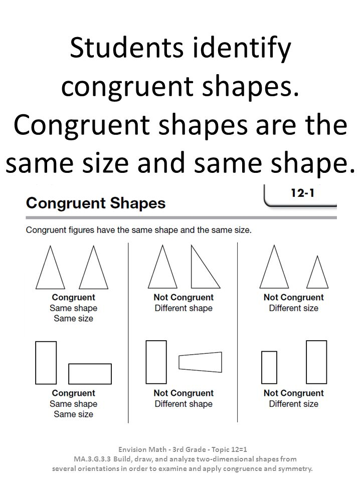 Students identify congruent shapes. Congruent shapes are the same size and same shape. Envision Math - 3rd Grade - Topic 12=1 MA.3.G.3.3 Build, draw,