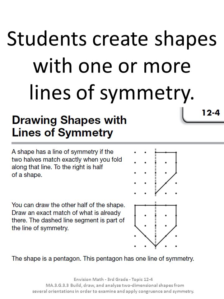 Students create shapes with one or more lines of symmetry. Envision Math - 3rd Grade - Topic 12-4 MA.3.G.3.3 Build, draw, and analyze two-dimensional