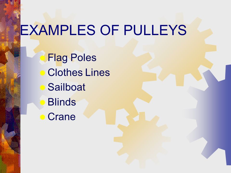 EXAMPLES OF PULLEYS Flag Poles Clothes Lines Sailboat Blinds Crane