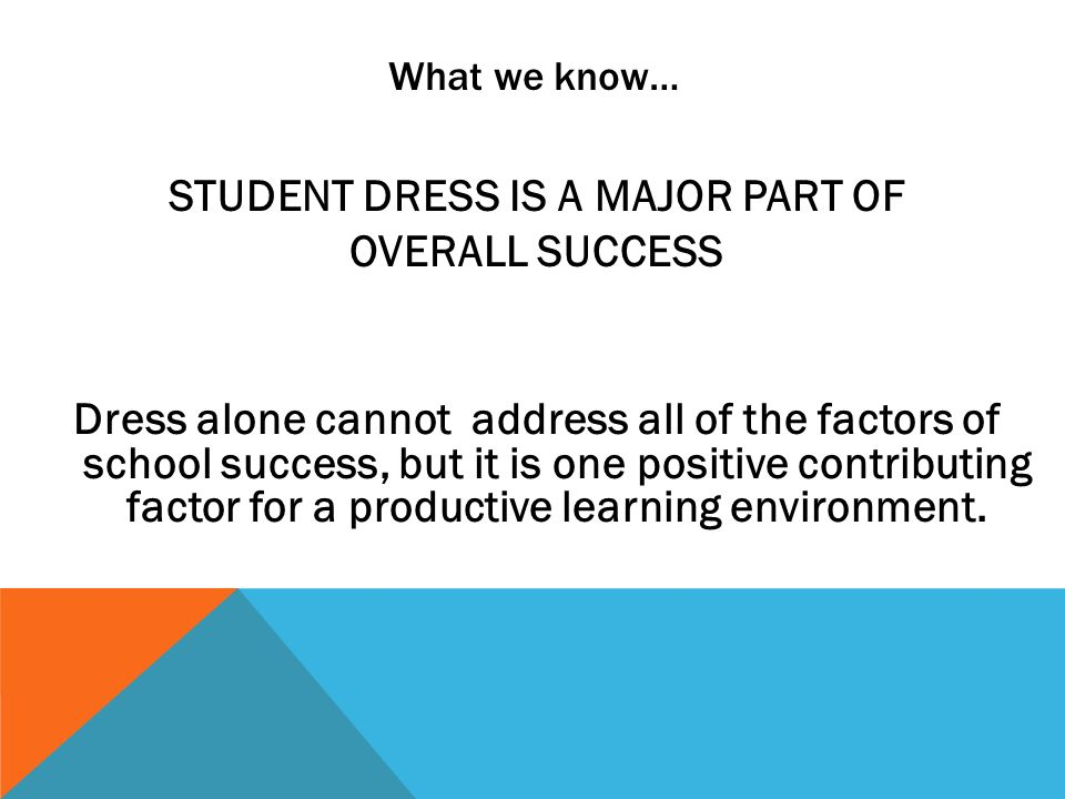 What we know… STUDENT DRESS IS A MAJOR PART OF OVERALL SUCCESS Dress alone cannot address all of the factors of school success, but it is one positive