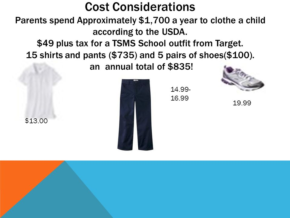 $13.00 14.99- 16.99 19.99 Cost Considerations Parents spend Approximately $1,700 a year to clothe a child according to the USDA. $49 plus tax for a TS