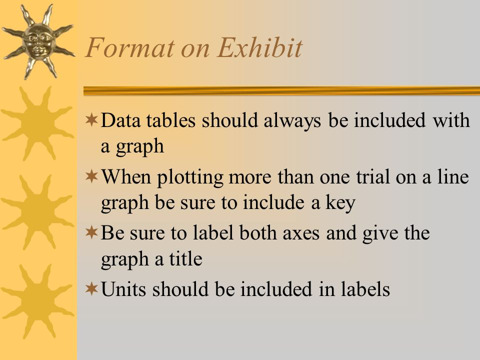 Format on Exhibit Data tables should always be included with a graph When plotting more than one trial on a line graph be sure to include a key Be sur