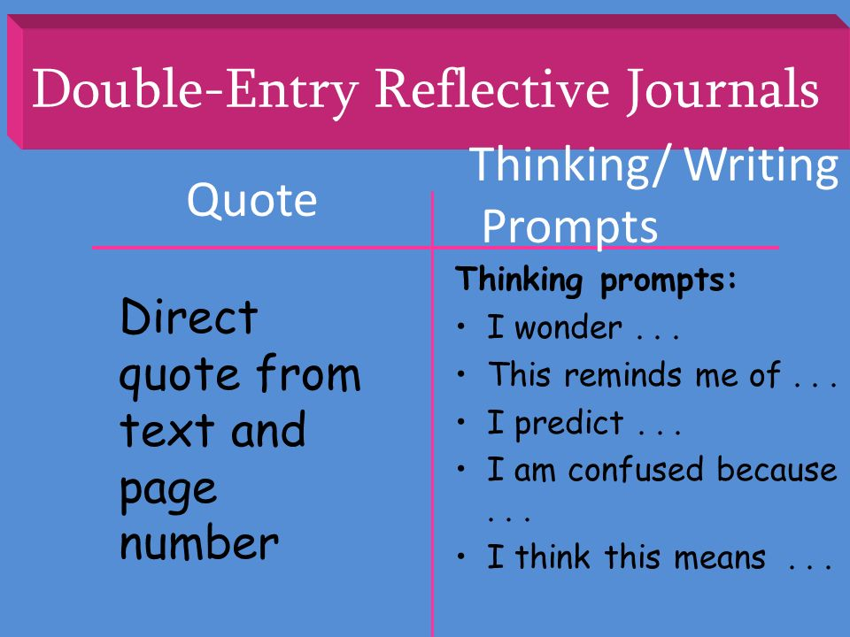 Double-Entry Reflective Journals Quote Thinking/ Writing Prompts Direct quote from text and page number Thinking prompts: I wonder... This reminds me