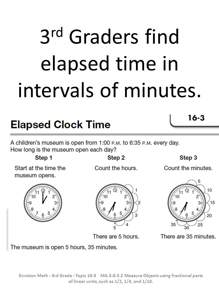 Students find elapsed time on a calendar.