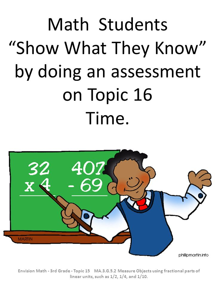 Math Students Show What They Know by doing an assessment on Topic 16 Time. Envision Math - 3rd Grade - Topic 15 MA.3.G.5.2 Measure Objects using fract
