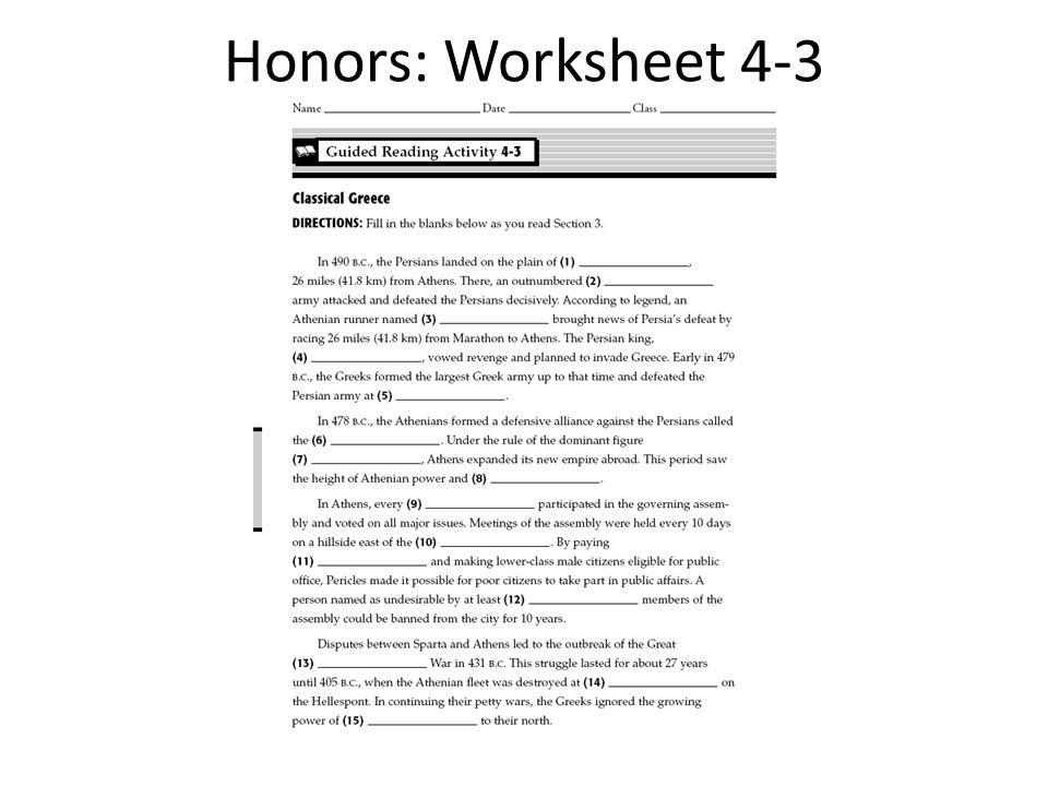 Honors: Worksheet 4-3