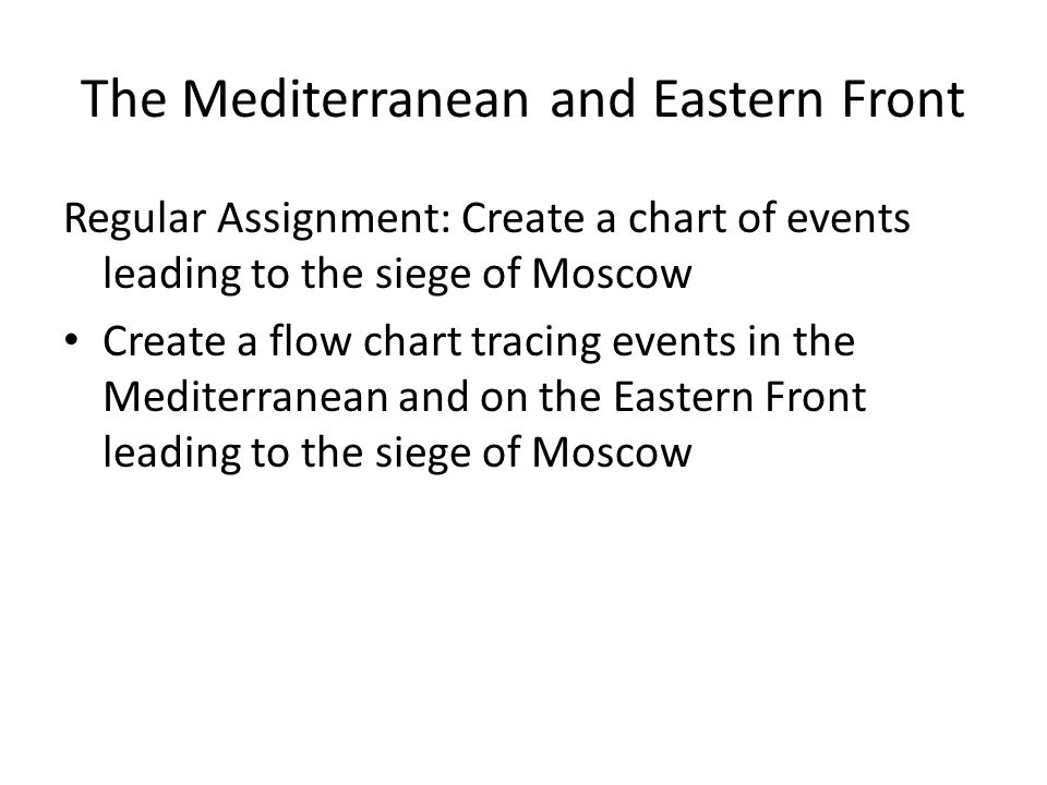 The Mediterranean and Eastern Front Regular Assignment: Create a chart of events leading to the siege of Moscow Create a flow chart tracing events in