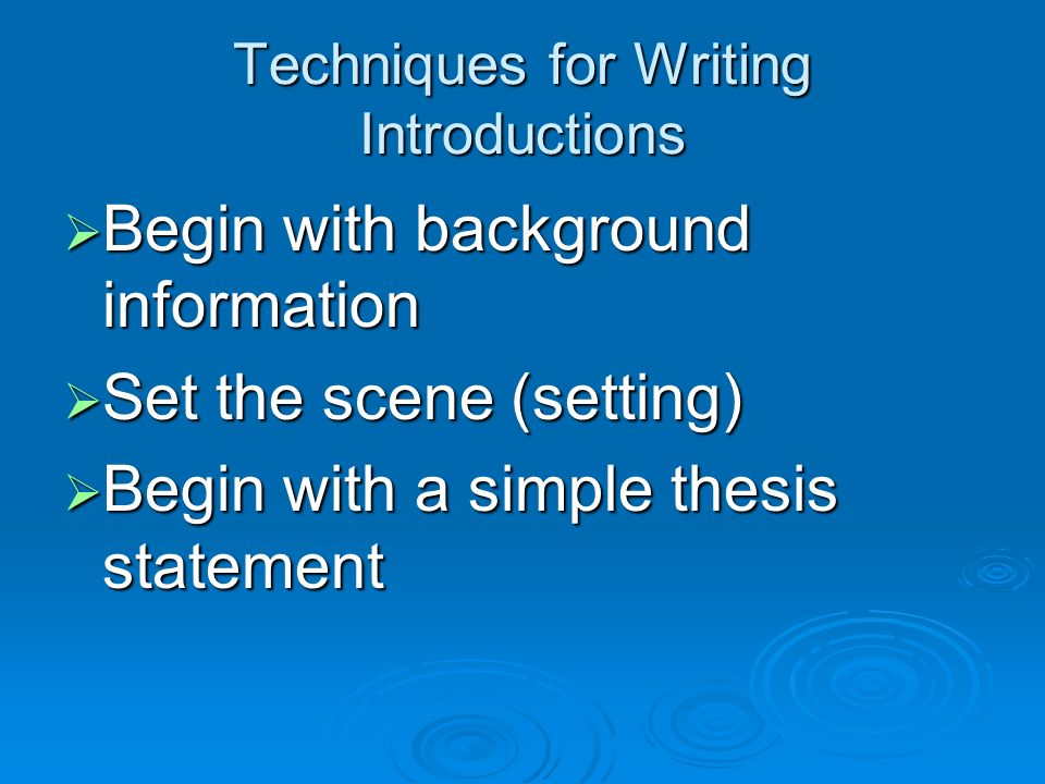 Thesis Statement The thesis statement is a sentence or two in the introduction that announces your topic and what you want to say about it.