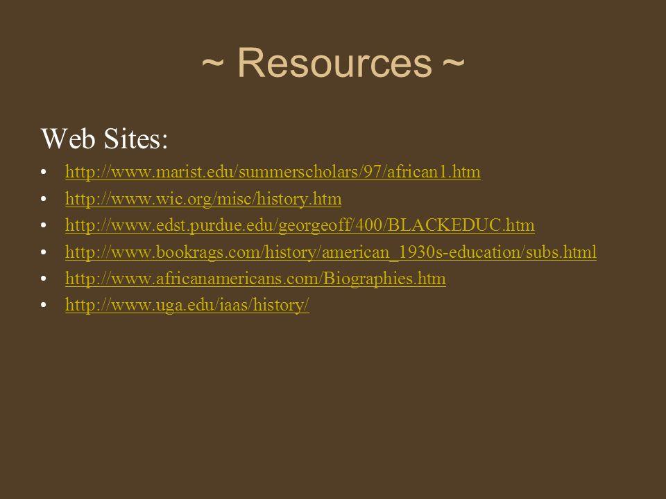 ~ Resources ~ Web Sites: http://www.marist.edu/summerscholars/97/african1.htm http://www.wic.org/misc/history.htm http://www.edst.purdue.edu/georgeoff