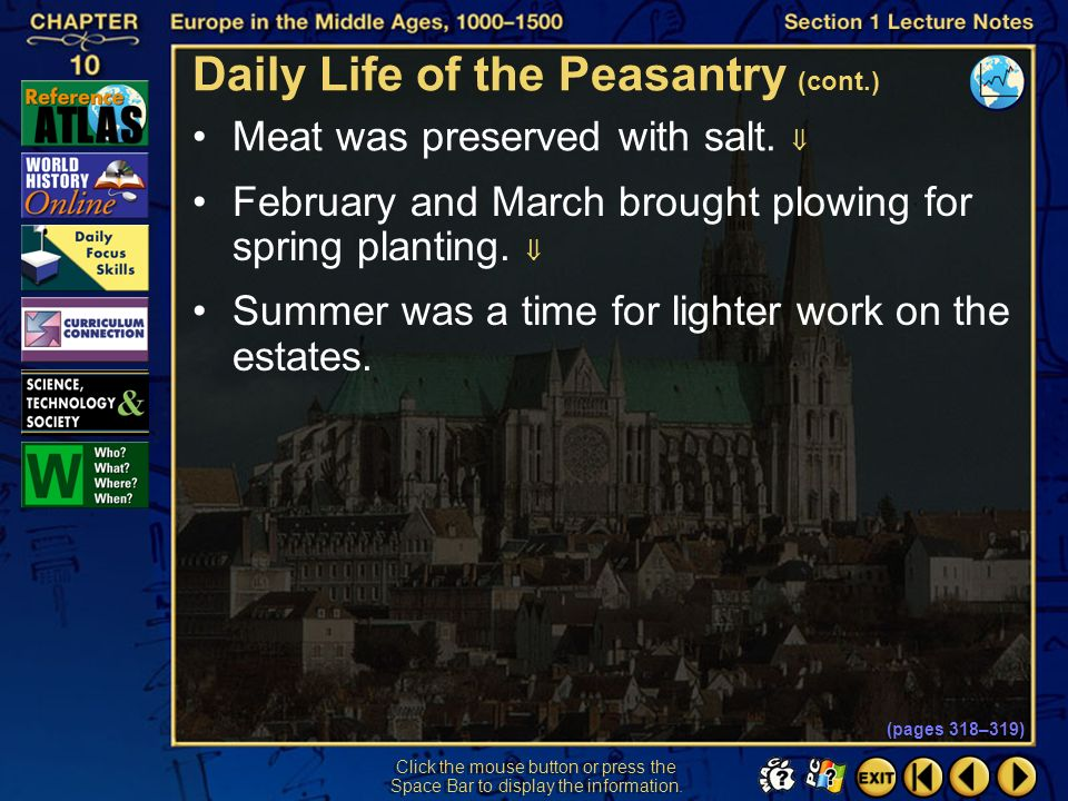 Section 1-20 Click the mouse button or press the Space Bar to display the information. The seasons largely determined peasant life and work. Harvest t