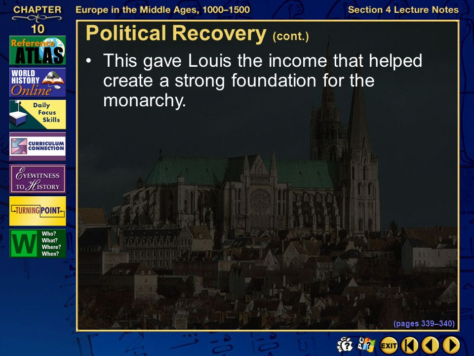 Section 4-29 Click the mouse button or press the Space Bar to display the information. Political Recovery (cont.) The Hundred Years War left France ex