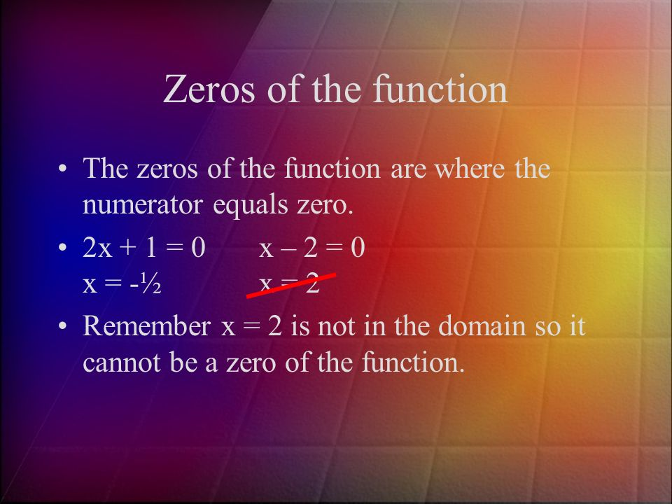 Zeros of the function The zeros of the function are where the numerator equals zero.