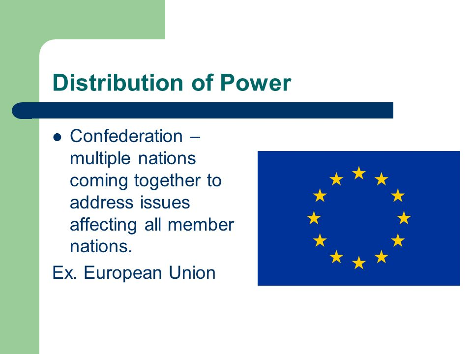 Distribution of Power Confederation – multiple nations coming together to address issues affecting all member nations. Ex. European Union