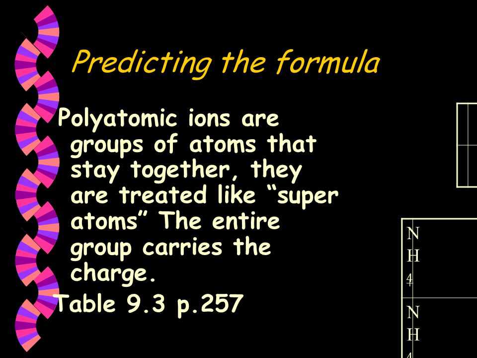 Predicting the formula Polyatomic ions are groups of atoms that stay together, they are treated like super atoms The entire group carries the charge.