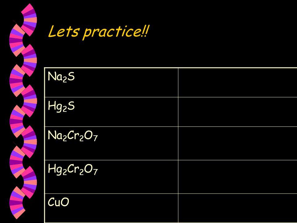 Lets practice!! Na 2 S Hg 2 S Na 2 Cr 2 O 7 Hg 2 Cr 2 O 7 CuO