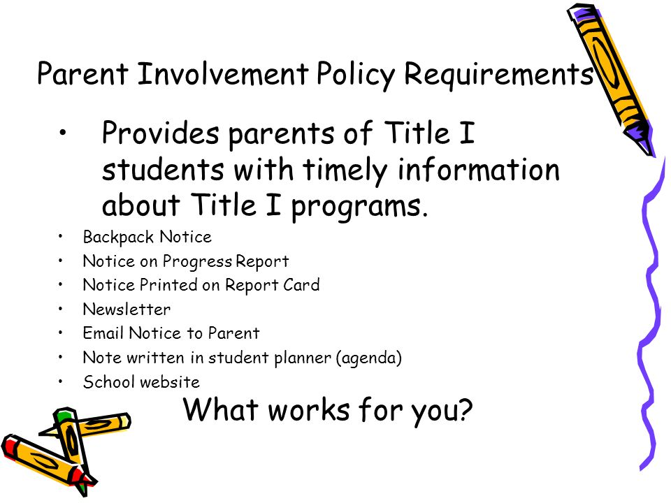 Provides parents of Title I students with timely information about Title I programs. Backpack Notice Notice on Progress Report Notice Printed on Repor