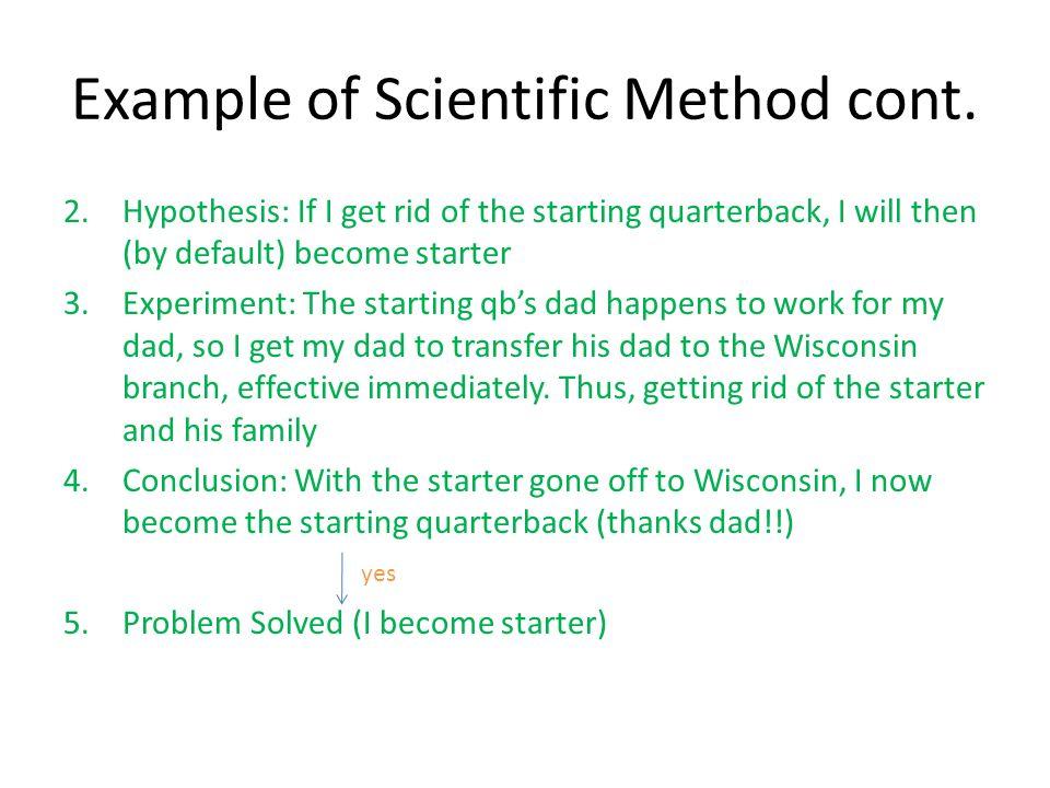 Example of Scientific Method cont.