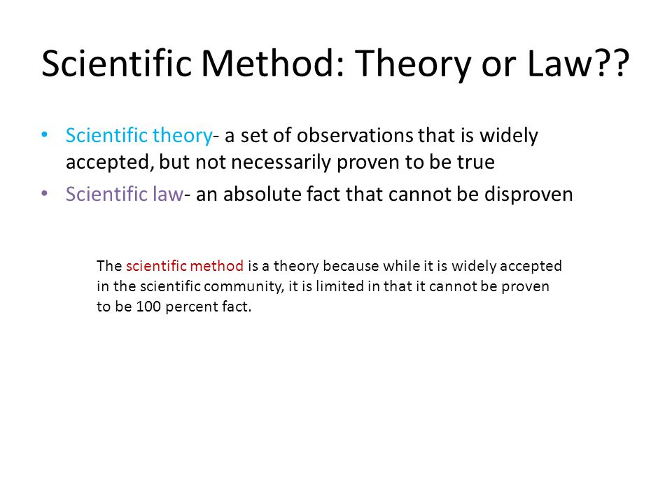 Scientific Method: Theory or Law .