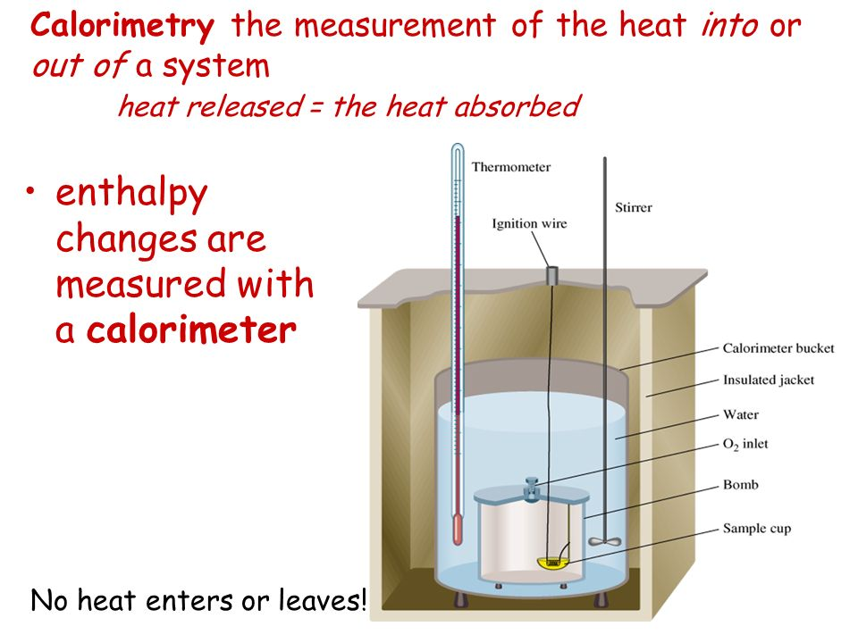 Calorimetry the measurement of the heat into or out of a system heat released = the heat absorbed enthalpy changes are measured with a calorimeter No