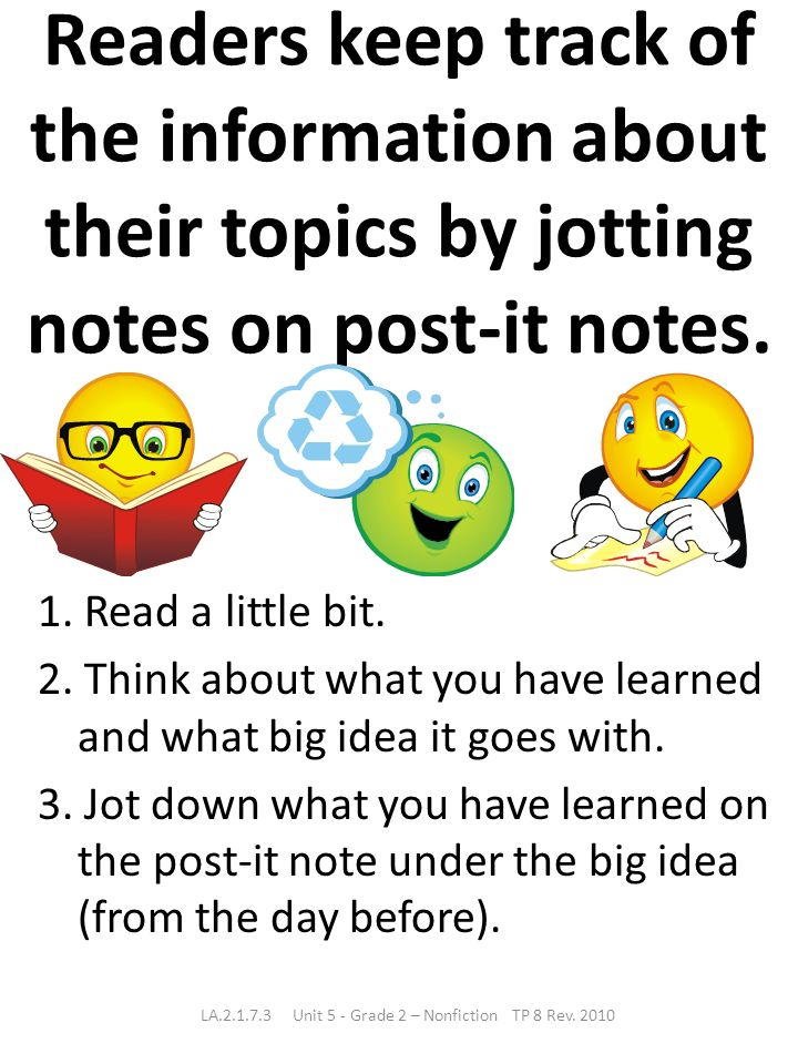 Readers keep track of the information about their topics by jotting notes on post-it notes. 1. Read a little bit. 2. Think about what you have learned