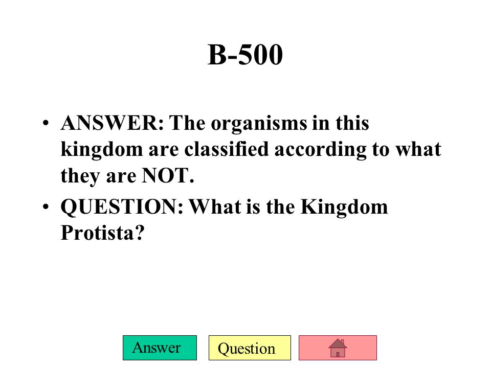 Question Answer B-400 ANSWER: The organisms in this kingdom are eukaryotes that are mostly autotrophic and photosynthetic.