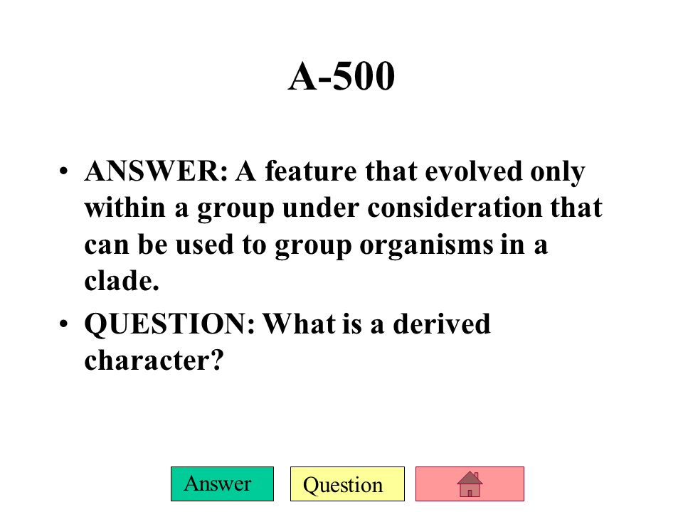 Question Answer A-400 ANSWER: A diagram which shows the relationship of organisms and is similar to a family tree.