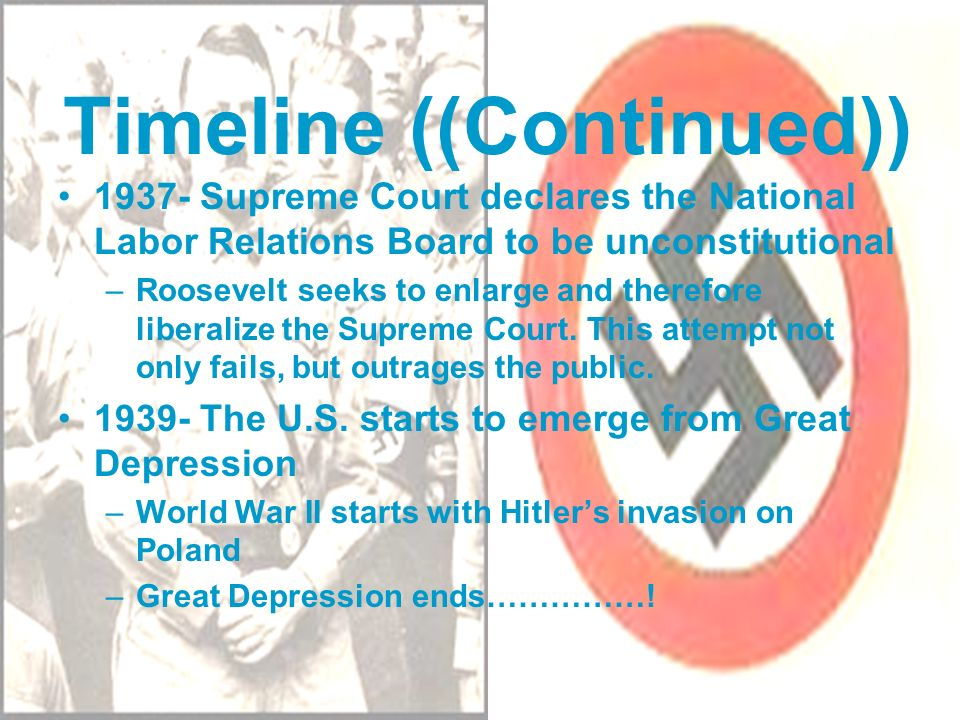 Timeline ((Continued)) 1937- Supreme Court declares the National Labor Relations Board to be unconstitutional –Roosevelt seeks to enlarge and therefor
