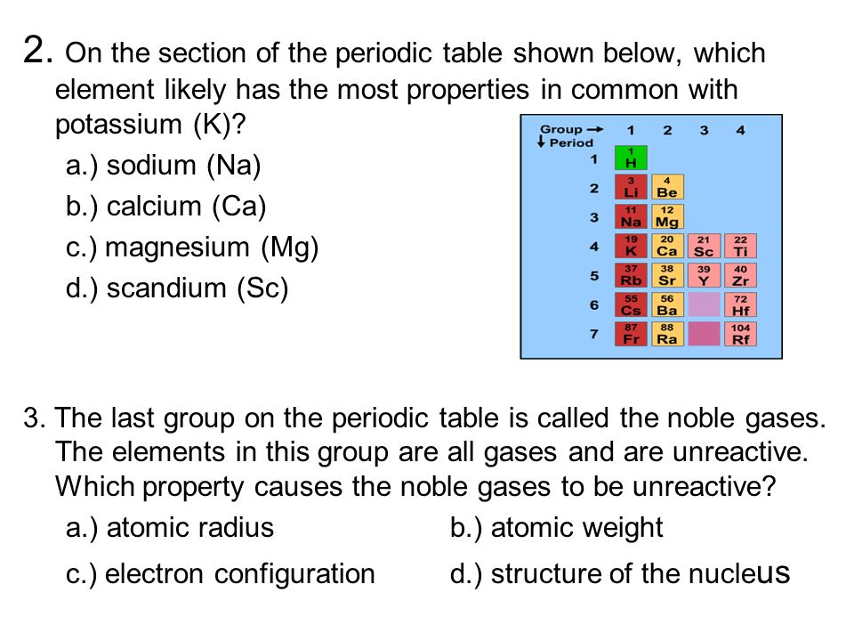 2. On the section of the periodic table shown below, which element likely has the most properties in common with potassium (K)? a.) sodium (Na) b.) ca