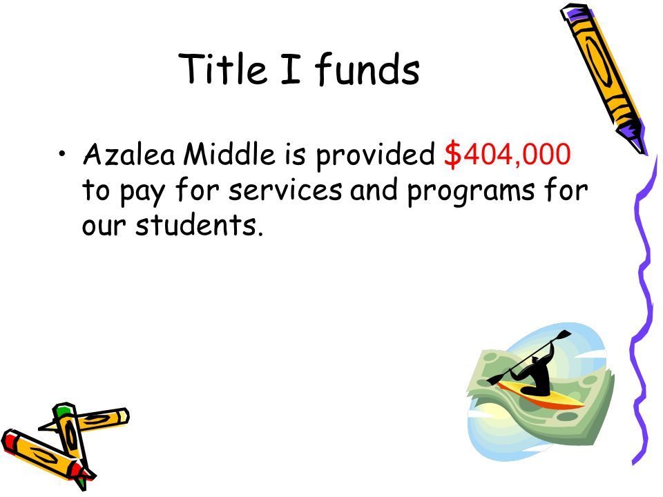 Title I funds Azalea Middle is provided $ 404,000 to pay for services and programs for our students.