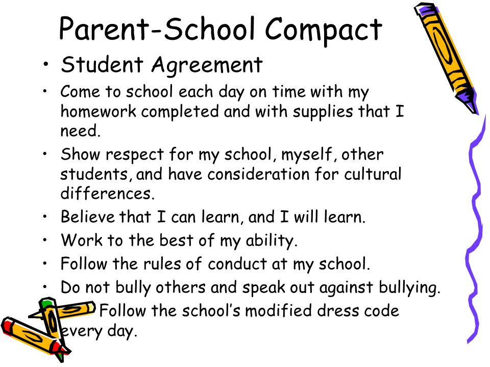 Parent-School Compact Student Agreement Come to school each day on time with my homework completed and with supplies that I need. Show respect for my