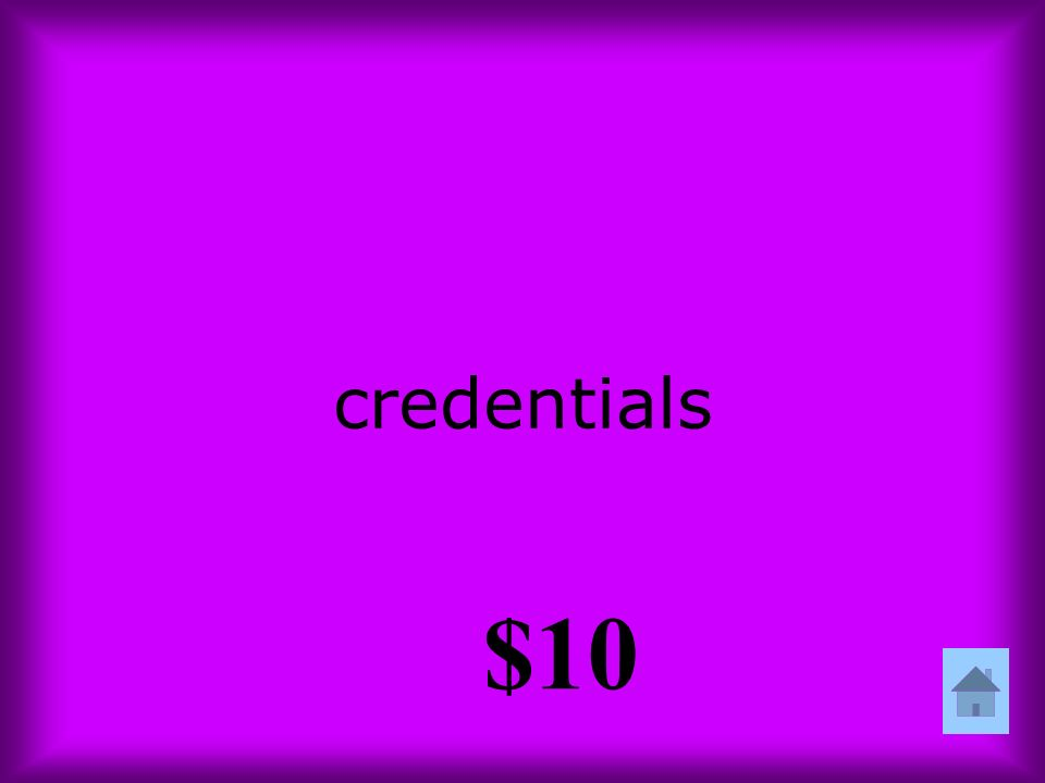 credentials $10